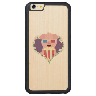 Cinema Pig with flower heart Zvf1w Carved® Maple iPhone 6 Plus Bumper Case