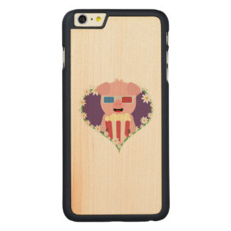 Cinema Pig with flower heart Zvf1w Carved Maple iPhone 6 Plus Case