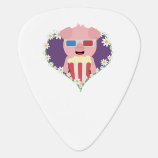 Cinema Pig with flower heart Zvf1w Guitar Pick