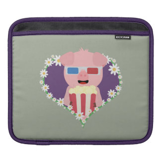 Cinema Pig with flower heart Zvf1w iPad Sleeve
