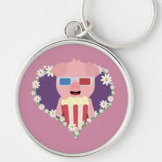 Cinema Pig with flower heart Zvf1w Keychain