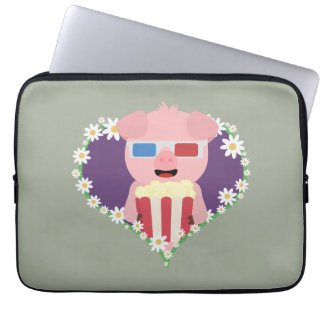 Cinema Pig with flower heart Zvf1w Laptop Sleeves