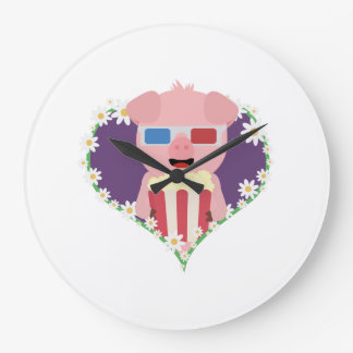 Cinema Pig with flower heart Zvf1w Large Clock