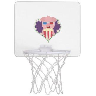 Cinema Pig with flower heart Zvf1w Mini Basketball Hoop