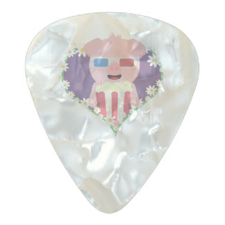Cinema Pig with flower heart Zvf1w Pearl Celluloid Guitar Pick