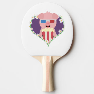 Cinema Pig with flower heart Zvf1w Ping Pong Paddle