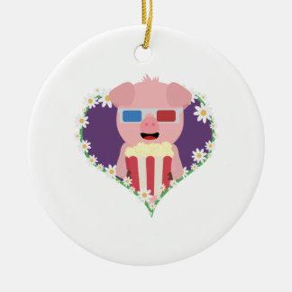 Cinema Pig with flower heart Zvf1w Round Ceramic Ornament