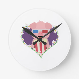 Cinema Pig with flower heart Zvf1w Round Clock