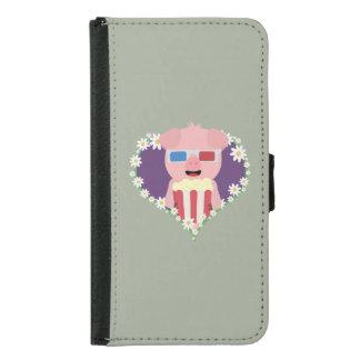 Cinema Pig with flower heart Zvf1w Samsung Galaxy S5 Wallet Case