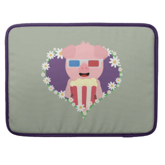 Cinema Pig with flower heart Zvf1w Sleeve For MacBook Pro