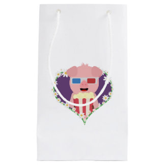 Cinema Pig with flower heart Zvf1w Small Gift Bag