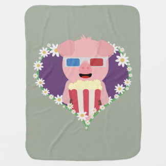 Cinema Pig with flower heart Zvf1w Swaddle Blankets