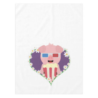 Cinema Pig with flower heart Zvf1w Tablecloth