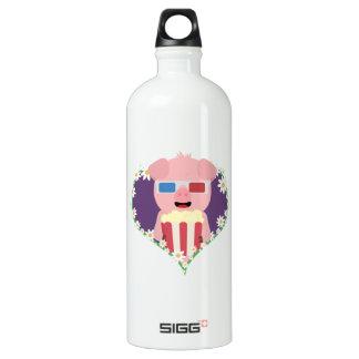 Cinema Pig with flower heart Zvf1w Water Bottle