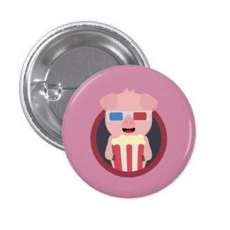 Cinema Pig with Popcorn Zpm09 1 Inch Round Button