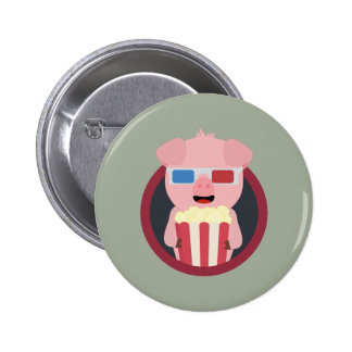 Cinema Pig with Popcorn Zpm09 2 Inch Round Button