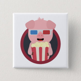 Cinema Pig with Popcorn Zpm09 2 Inch Square Button