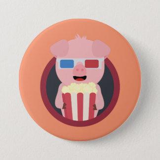Cinema Pig with Popcorn Zpm09 3 Inch Round Button