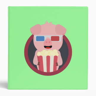 Cinema Pig with Popcorn Zpm09 3 Ring Binder