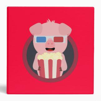 Cinema Pig with Popcorn Zpm09 3 Ring Binders