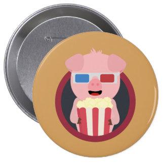 Cinema Pig with Popcorn Zpm09 4 Inch Round Button