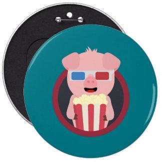 Cinema Pig with Popcorn Zpm09 6 Inch Round Button