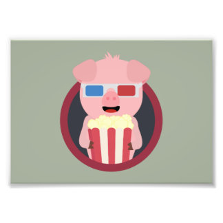 Cinema Pig with Popcorn Zpm09 Art Photo