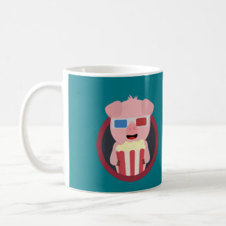 Cinema Pig with Popcorn Zpm09 Coffee Mug