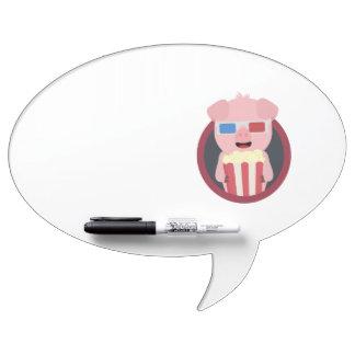Cinema Pig with Popcorn Zpm09 Dry Erase Board