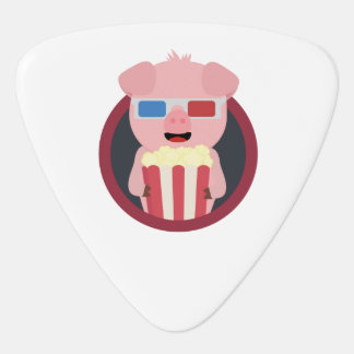 Cinema Pig with Popcorn Zpm09 Guitar Pick