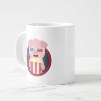 Cinema Pig with Popcorn Zpm09 Large Coffee Mug