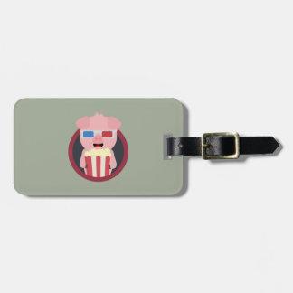 Cinema Pig with Popcorn Zpm09 Luggage Tag