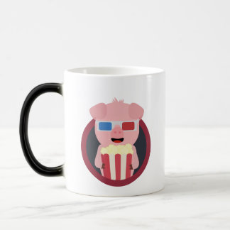 Cinema Pig with Popcorn Zpm09 Magic Mug