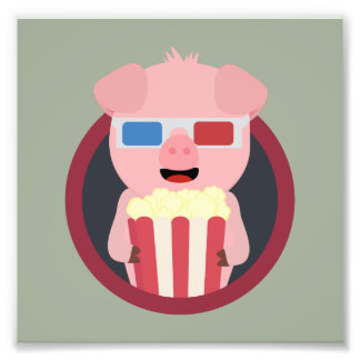 Cinema Pig with Popcorn Zpm09 Photo