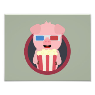 Cinema Pig with Popcorn Zpm09 Photo Print