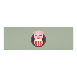 Cinema Pig with Popcorn Zpm09 Photographic Print