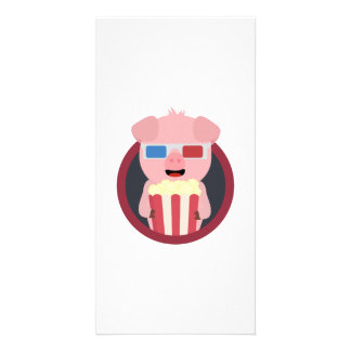 Cinema Pig with Popcorn Zpm09 Picture Card