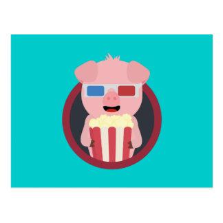 Cinema Pig with Popcorn Zpm09 Postcard