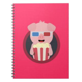Cinema Pig with Popcorn Zpm09 Spiral Notebook