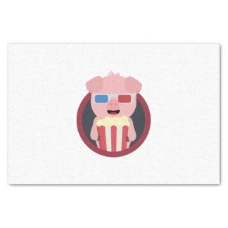Cinema Pig with Popcorn Zpm09 Tissue Paper