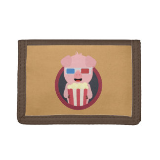 Cinema Pig with Popcorn Zpm09 Tri-fold Wallets
