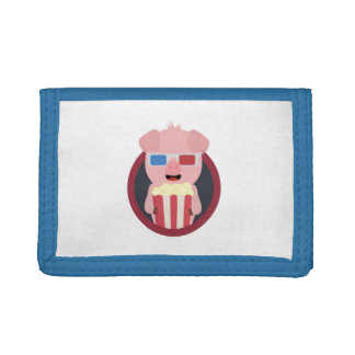 Cinema Pig with Popcorn Zpm09 Tri-fold Wallets