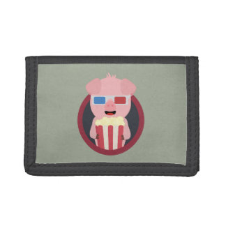 Cinema Pig with Popcorn Zpm09 Trifold Wallet