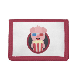 Cinema Pig with Popcorn Zpm09 Trifold Wallets