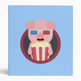 Cinema Pig with Popcorn Zpm09 Vinyl Binder