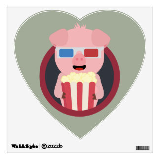 Cinema Pig with Popcorn Zpm09 Wall Decal