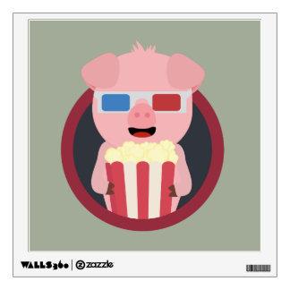 Cinema Pig with Popcorn Zpm09 Wall Sticker