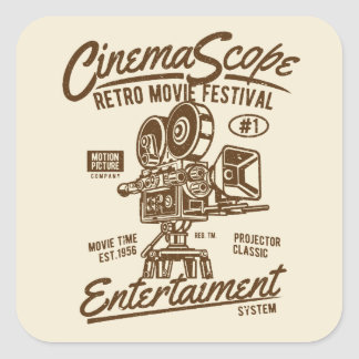 Cinema Scope Classic Retro Hollywood Camera Hollyw Square Sticker