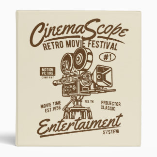 Cinema Scope Classic Retro Hollywood Camera Motion Vinyl Binder