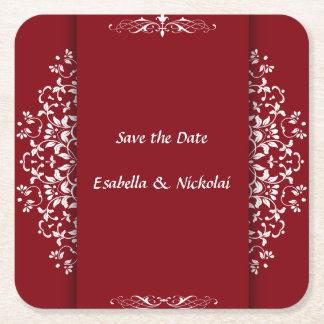Cinnabar Floral Wedding Invitation Suite-Coaster Square Paper Coaster